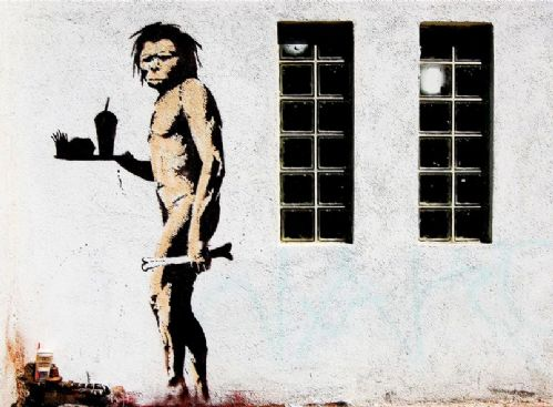 BANKSY - ape man landscape canvas print - self adhesive poster - photo print